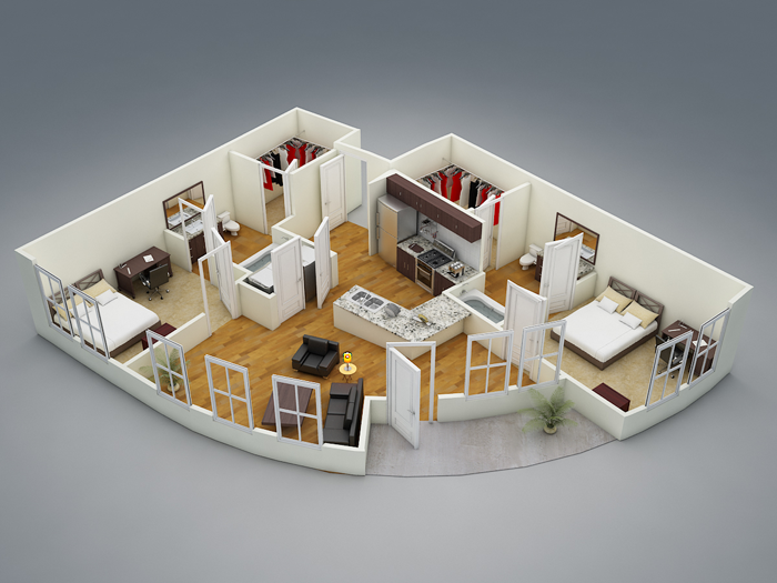 937 sq. ft. B4 floor plan