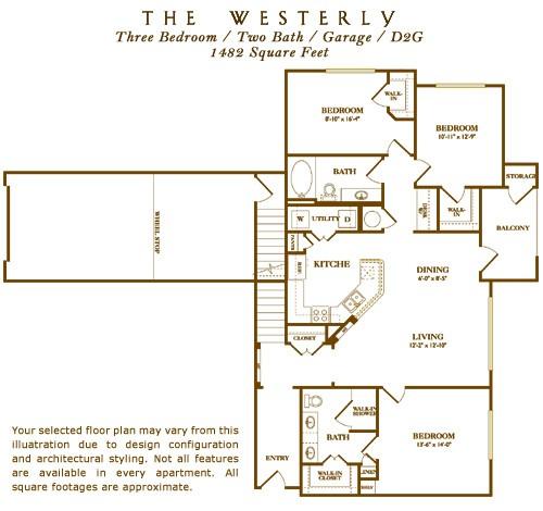 1,482 sq. ft. Westbrook floor plan