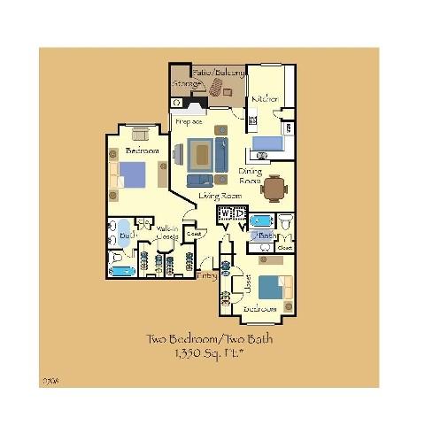 1,354 sq. ft. B4 floor plan