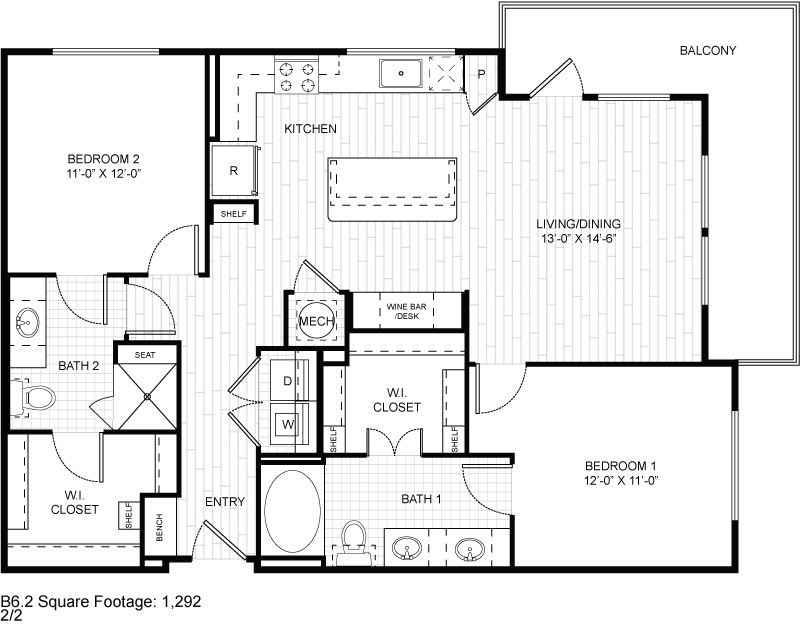1,292 sq. ft. B6.2 floor plan