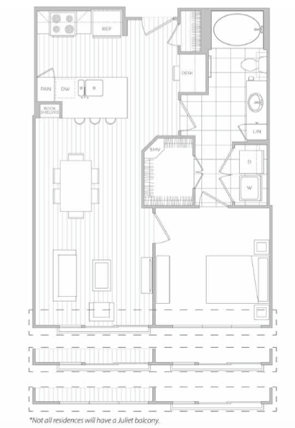 697 sq. ft. C floor plan