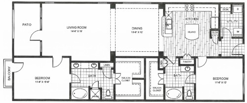 1,401 sq. ft. to 1,503 sq. ft. LONGHORN floor plan