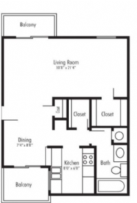 576 sq. ft. Victoria floor plan