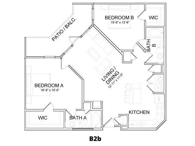 1,210 sq. ft. B2B floor plan