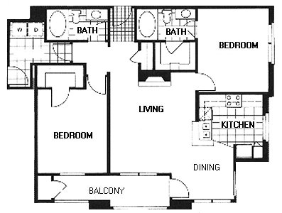 1,122 sq. ft. B2A/Wash. Square floor plan