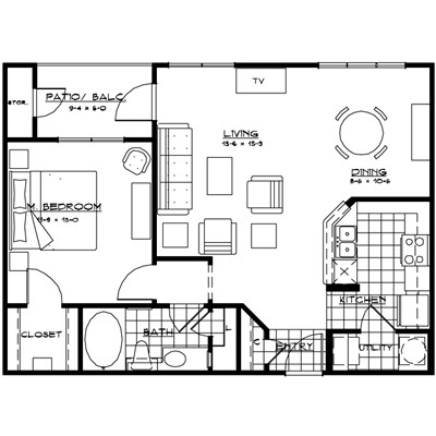 839 sq. ft. NAPOLI floor plan