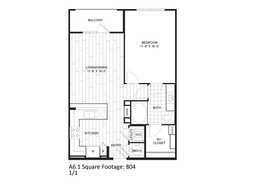 804 sq. ft. A6.1 floor plan