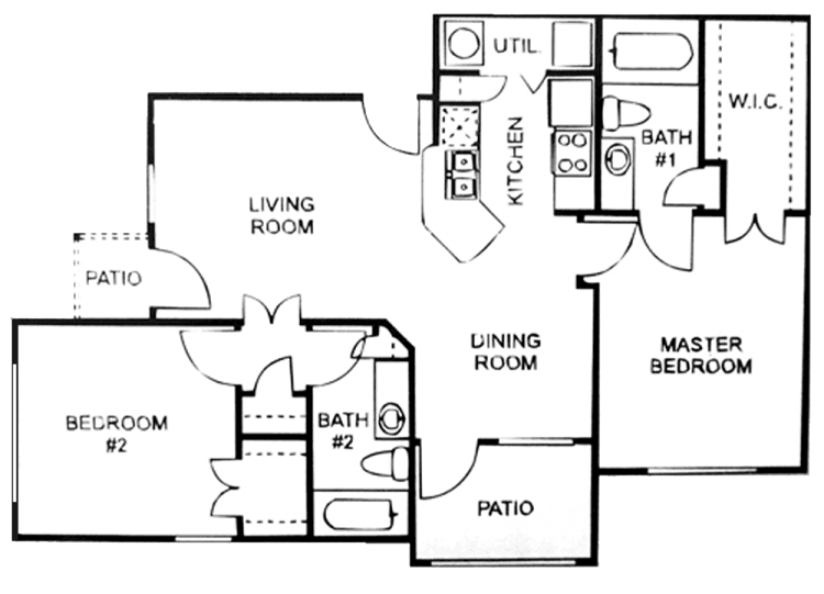 910 sq. ft. C/60 floor plan