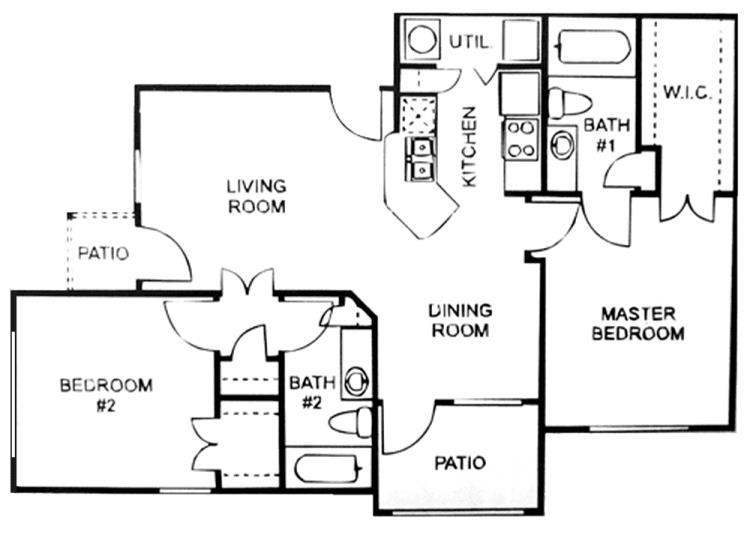 910 sq. ft. C/60% floor plan