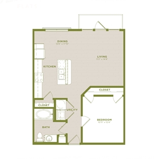 736 sq. ft. A10b floor plan