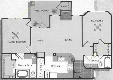 1,046 sq. ft. Guadalupe/B1 floor plan