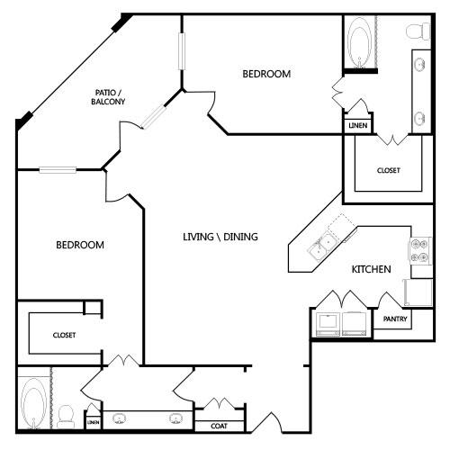 1,356 sq. ft. B5 floor plan