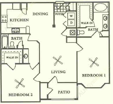 1,188 sq. ft. to 1,262 sq. ft. B1 floor plan