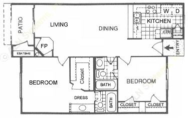 907 sq. ft. H floor plan
