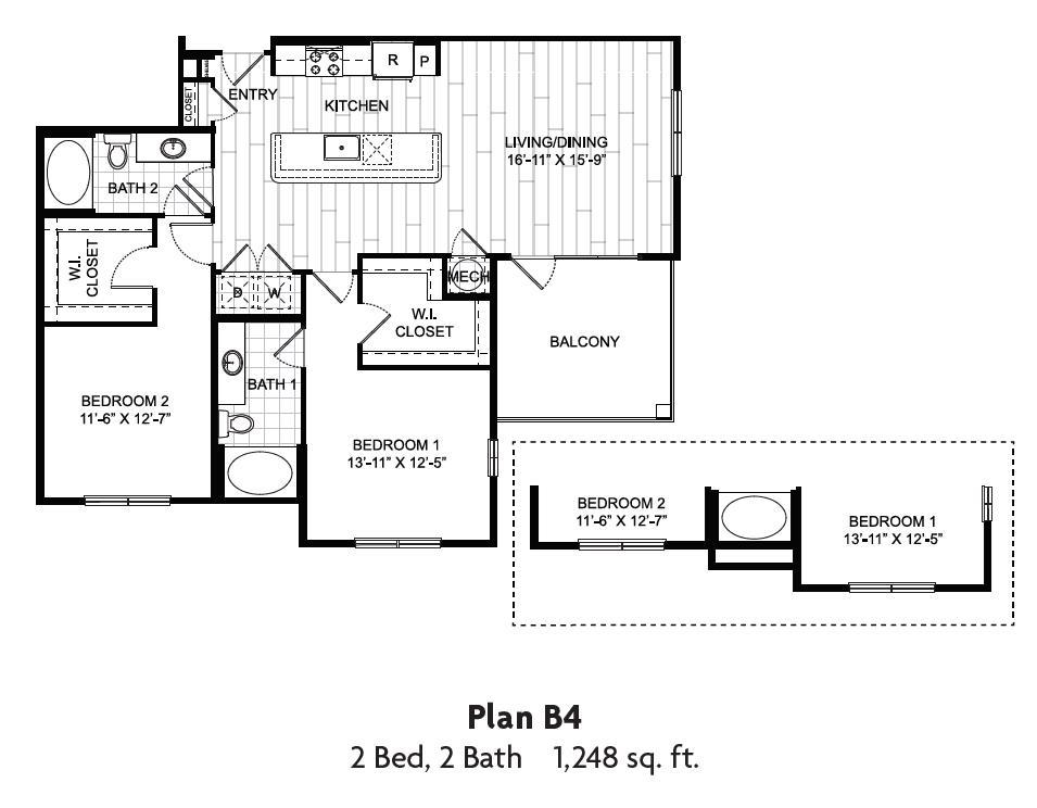 1,248 sq. ft. floor plan