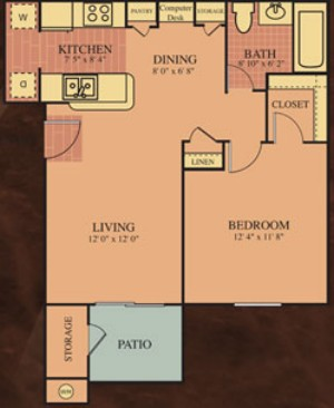 712 sq. ft. 60% Monet floor plan