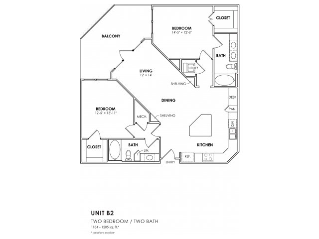 1,189 sq. ft. B1-2 floor plan