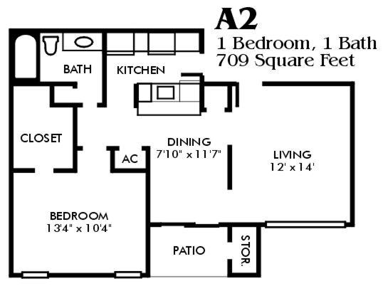709 sq. ft. A2/Mkt floor plan