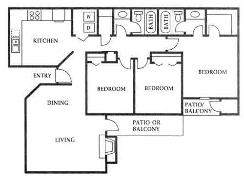 1,300 sq. ft. J floor plan