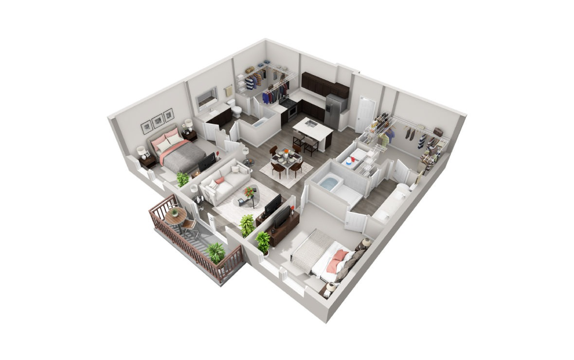 1,119 sq. ft. B2 floor plan