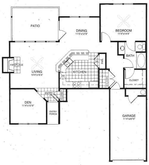 1,101 sq. ft. Camelot floor plan