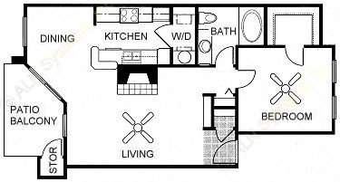 787 sq. ft. Anaqua floor plan