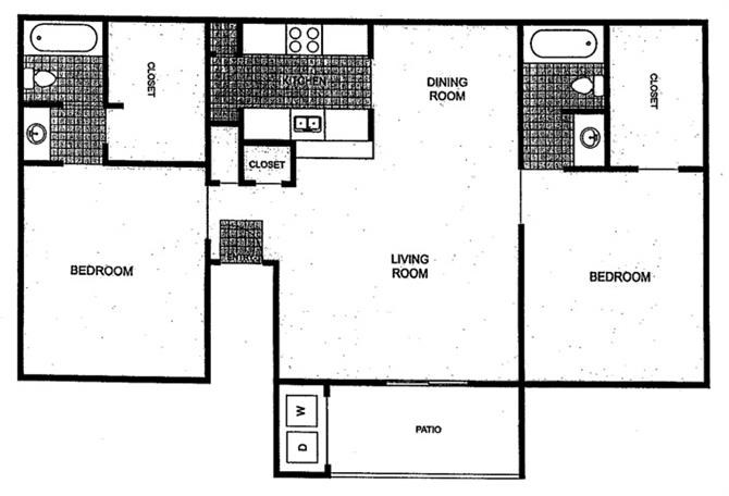 928 sq. ft. floor plan