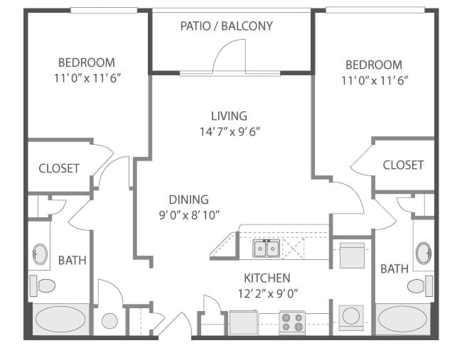 1,067 sq. ft. Louvre/C4 floor plan