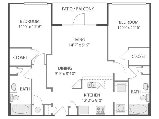 1,067 sq. ft. Louvre/C4 floor plan