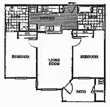 972 sq. ft. B2/60% floor plan