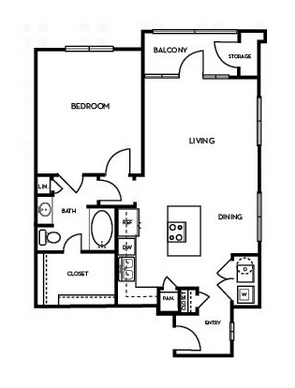 838 sq. ft. A2.3 floor plan