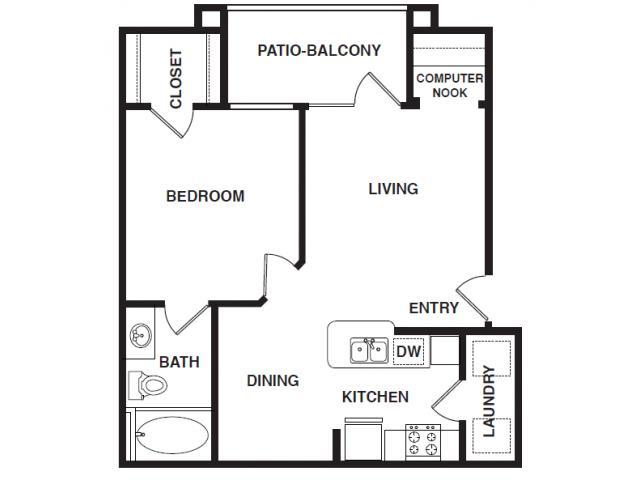 686 sq. ft. A1-HC floor plan