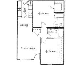 885 sq. ft. floor plan