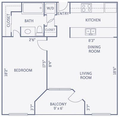 691 sq. ft. A6A floor plan