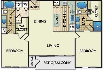 1,200 sq. ft. Monet floor plan