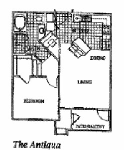 777 sq. ft. ANTIGUA floor plan