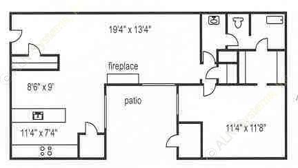 825 sq. ft. A-2/A-3 floor plan