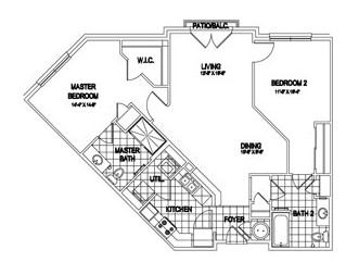 1,125 sq. ft. Blarney floor plan