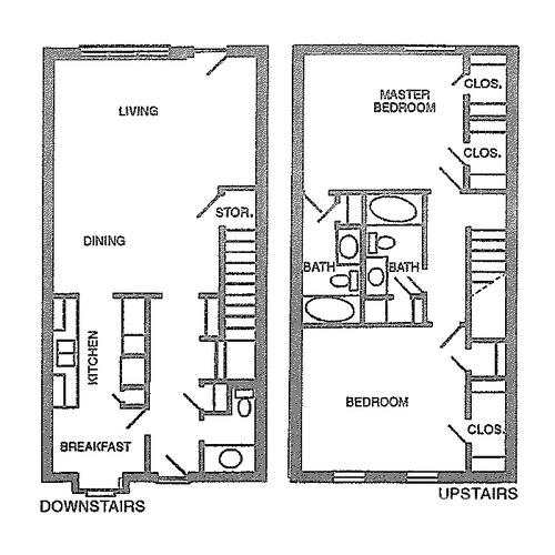 1,395 sq. ft. E floor plan