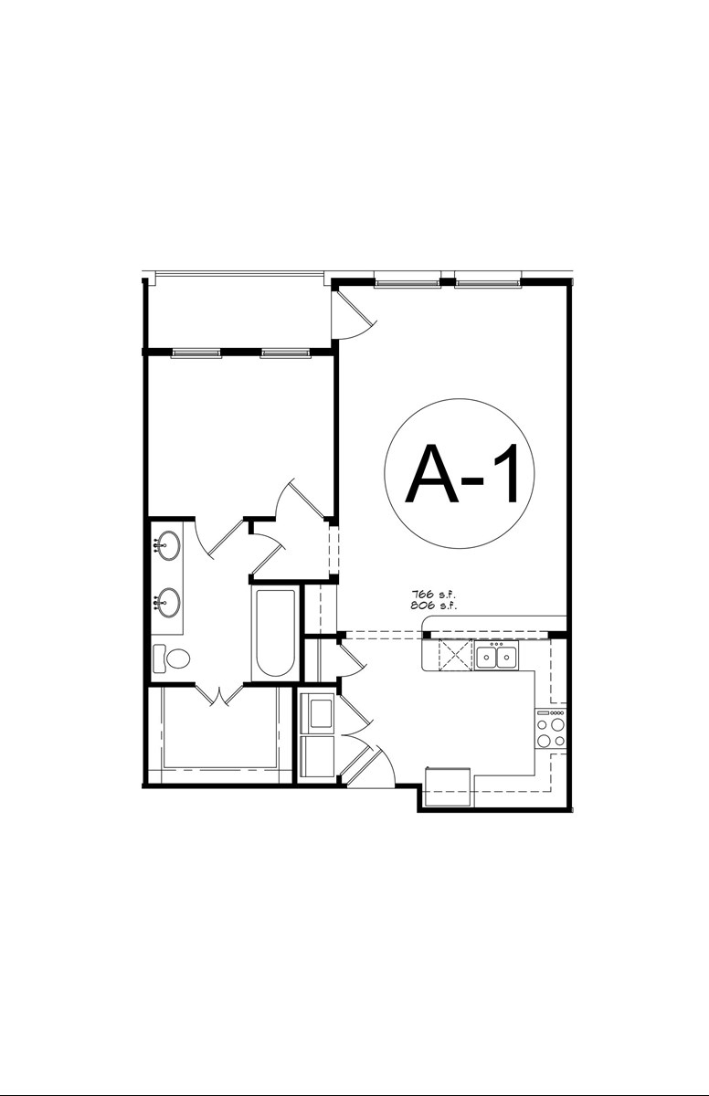 806 sq. ft. A1 floor plan