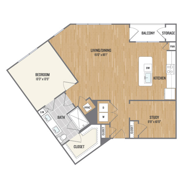 1,069 sq. ft. B4 floor plan
