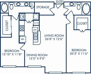1,329 sq. ft. B2A floor plan
