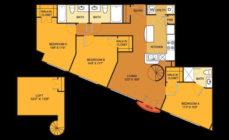 1,307 sq. ft. C2LOFT floor plan