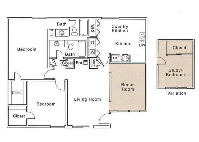 1,250 sq. ft. J floor plan