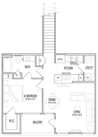 837 sq. ft. A2 Up floor plan