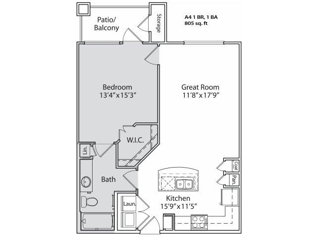 729 sq. ft. A4 floor plan