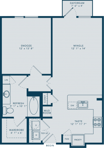 779 sq. ft. A3 floor plan