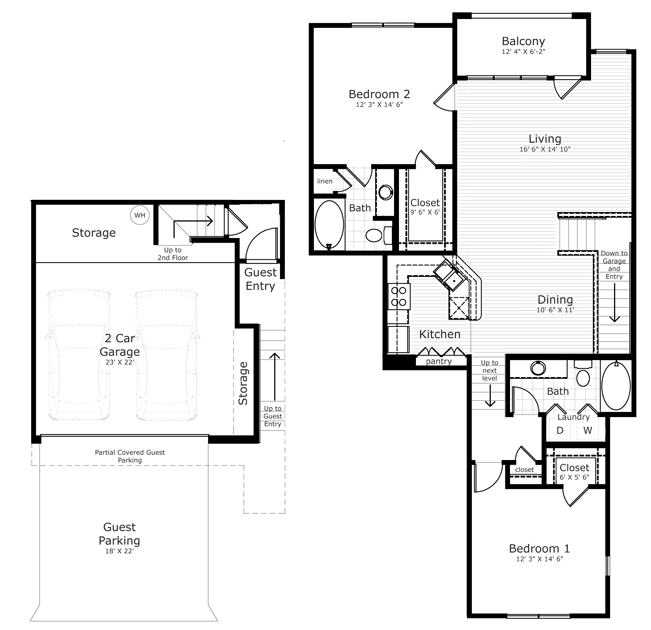 1,228 sq. ft. B5/B5E floor plan