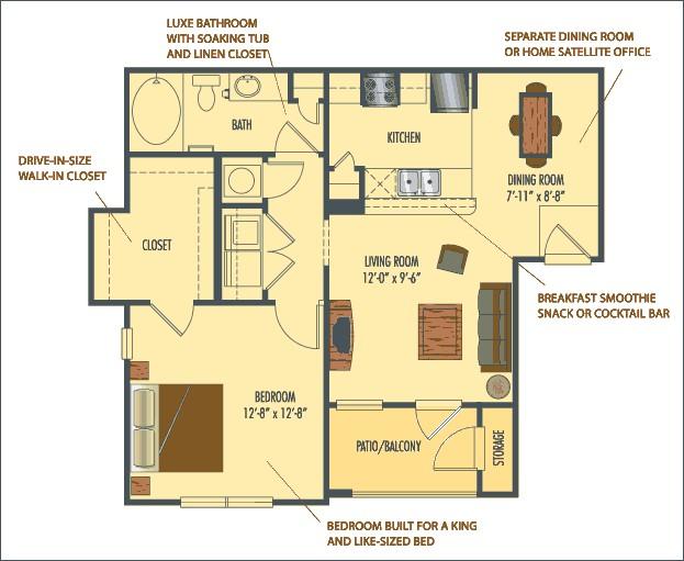 738 sq. ft. Cairo floor plan