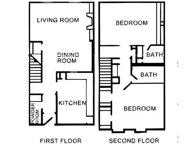 1,409 sq. ft. B2T floor plan